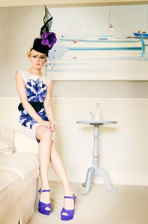 Ewa wears headpiece by Sarah Stephens at Hat Society and dress by French Connection at Serena Boutique, Sandymount.