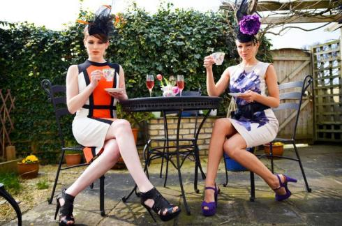 Kim and Ewa wear headpieces by Sarah Stephens at Hat Society and dresses from Serena Boutique, Sandymount.