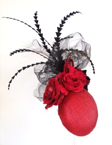 Edel Staunton Milliner - AW'12 Red base with roses and dramatic black crin and feather detail €220