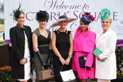 Finalists of the Victoria Square Best Dress Ladies Competition, Fiona Sutton from Holywood, Nicole Caldwell from Banbridge, Winner Velda Murdock from Kilkeel, Riona Corrigan from Armagh and Gillian Allison from Lisburn