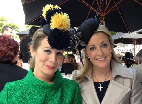 StyleJump's Kelley Burke with her sister Chanelle McCoy at the Prix de l'Arc de Triompe 2013.